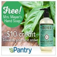ePantry: Free Mrs. Myers, $10 Credit and Free Shipping Ends Today!